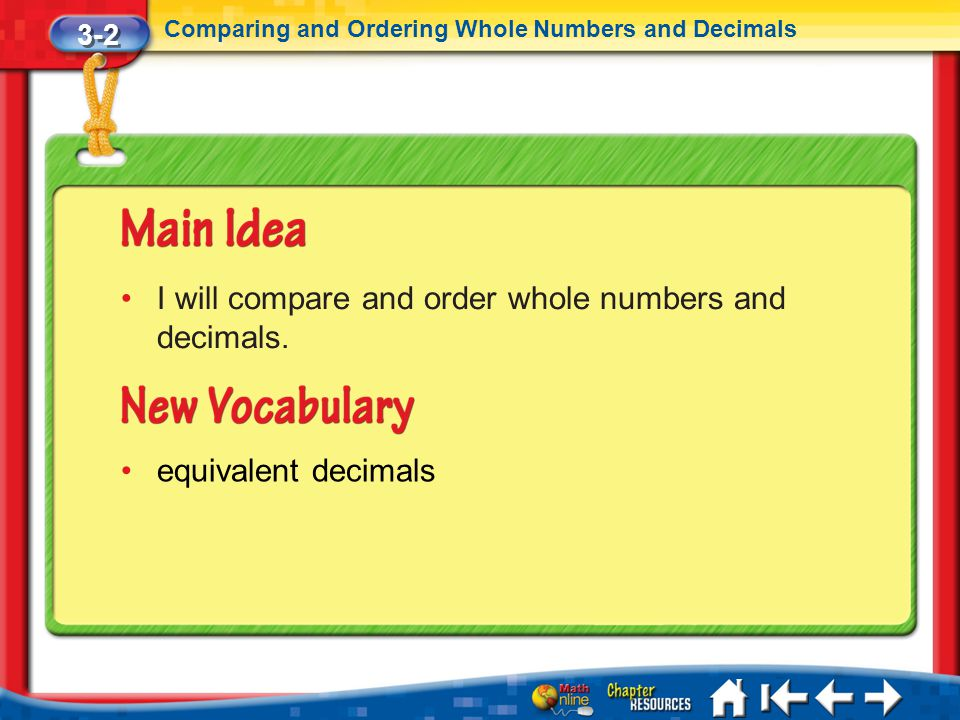 I will compare and order whole numbers and decimals.