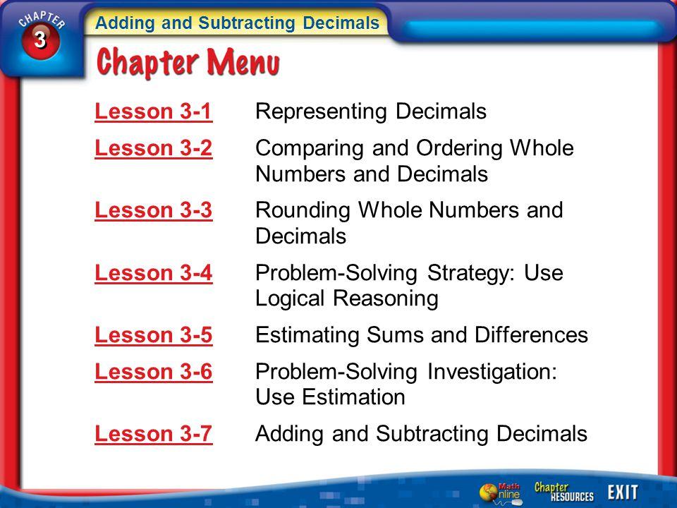 Lesson 3-1 Representing Decimals
