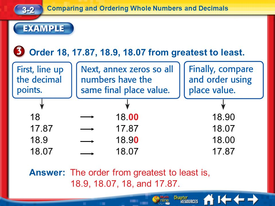 Order 18, 17.87, 18.9, 18.07 from greatest to least.