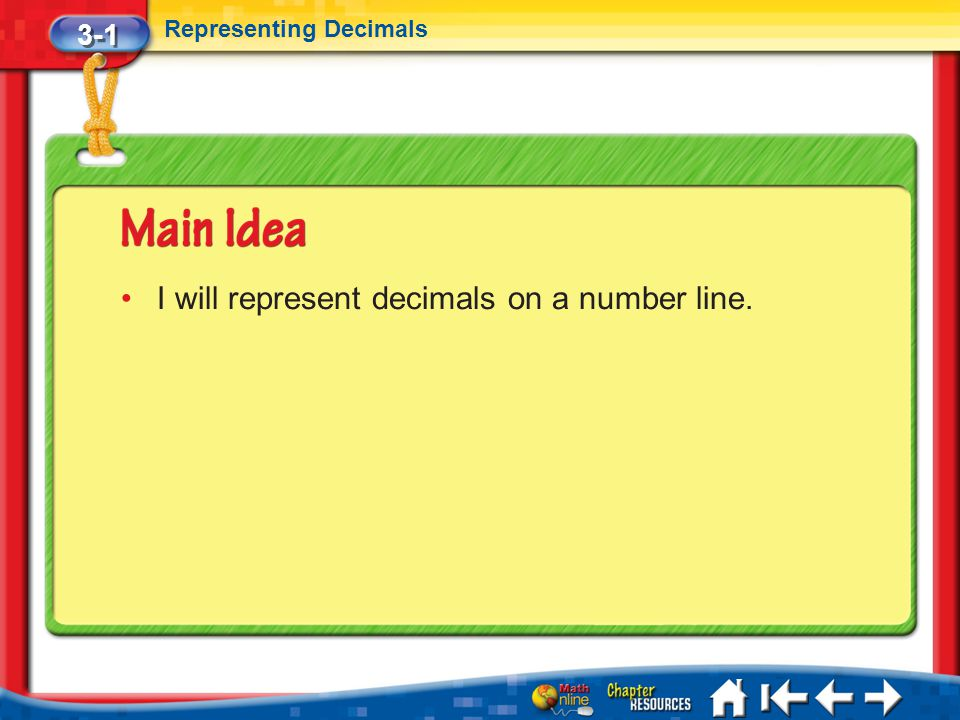 I will represent decimals on a number line.
