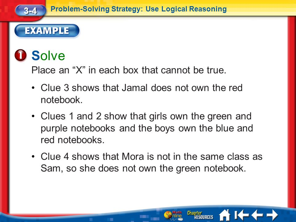 Solve Place an X in each box that cannot be true.