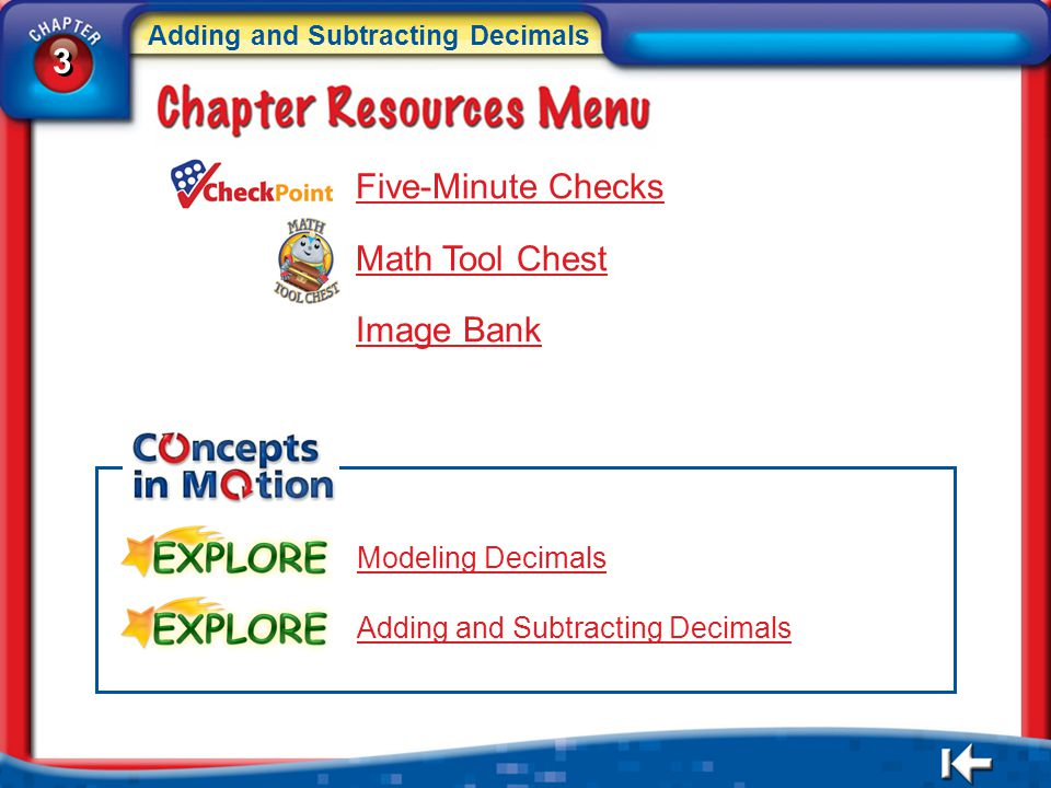 3 Five-Minute Checks Math Tool Chest Image Bank Modeling Decimals