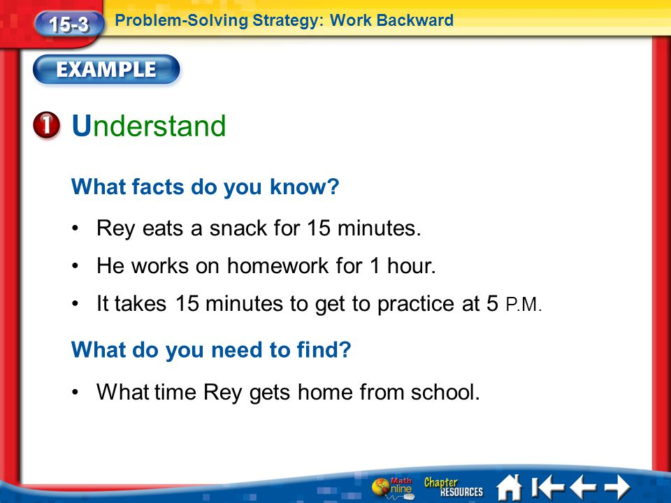 Understand What facts do you know Rey eats a snack for 15 minutes.