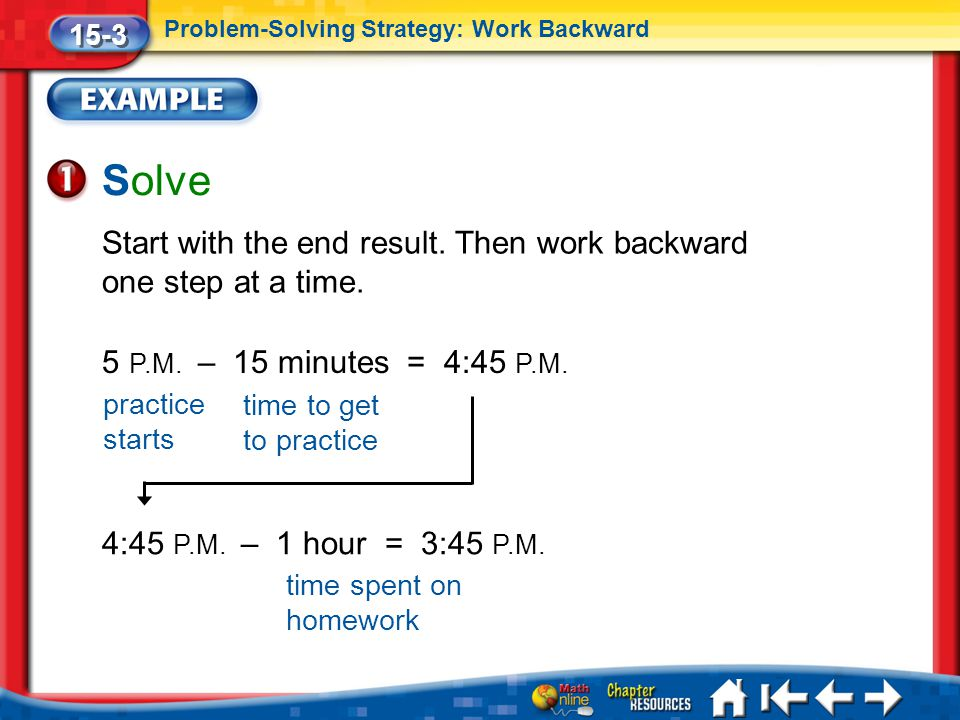 15-3 Problem-Solving Strategy: Work Backward. Solve. Start with the end result. Then work backward one step at a time.
