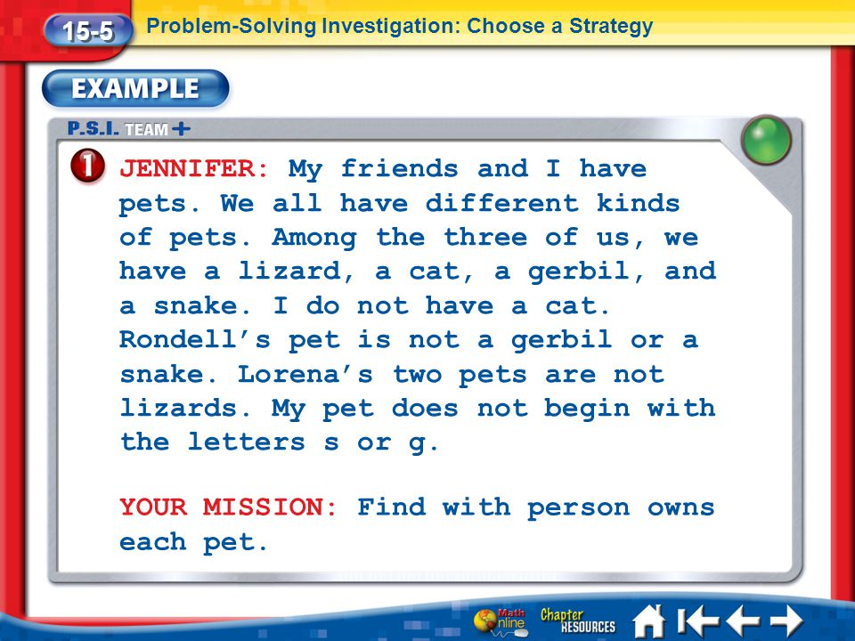 YOUR MISSION: Find with person owns each pet.