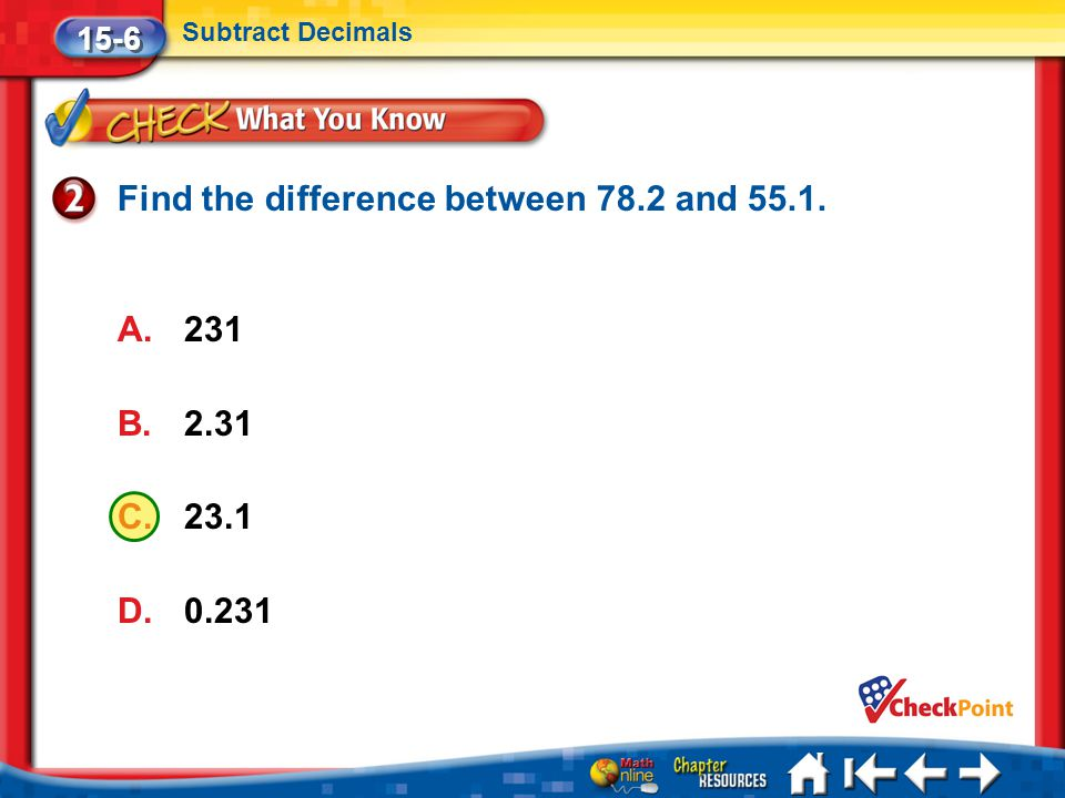 Find the difference between 78.2 and 55.1.