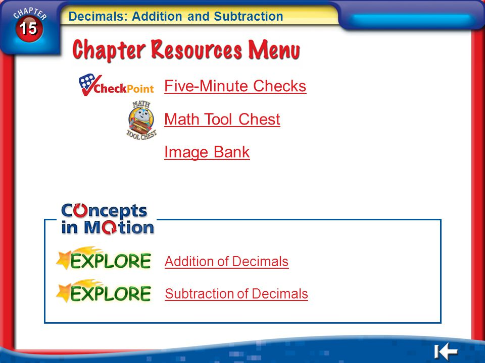 15 Five-Minute Checks Math Tool Chest Image Bank Addition of Decimals