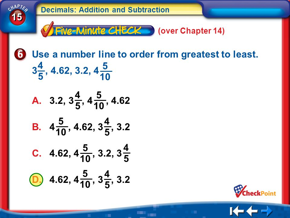 Use a number line to order from greatest to least.