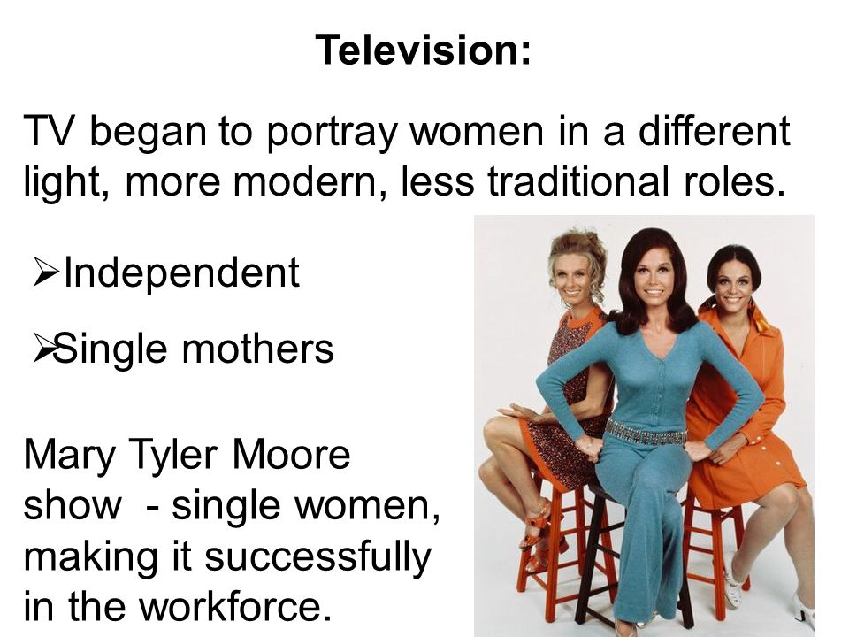 Television: TV began to portray women in a different light, more modern, less traditional roles. Independent.