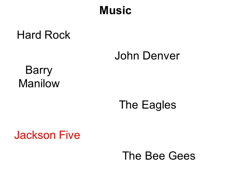 Music Hard Rock John Denver Barry Manilow The Eagles Jackson Five The Bee Gees