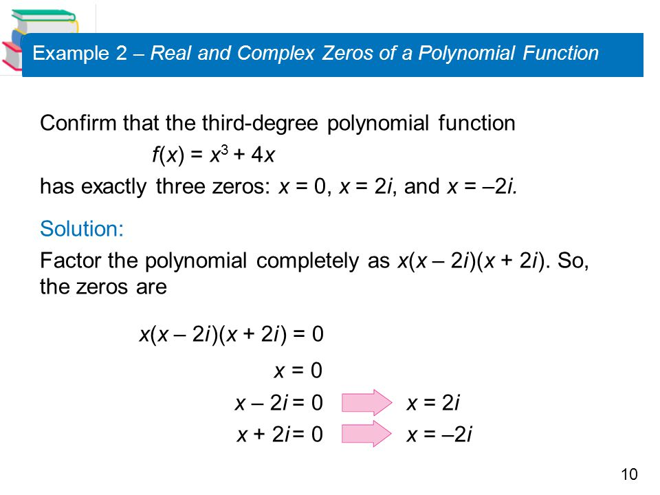 Example 2 – Real and Complex Zeros of a Polynomial Function