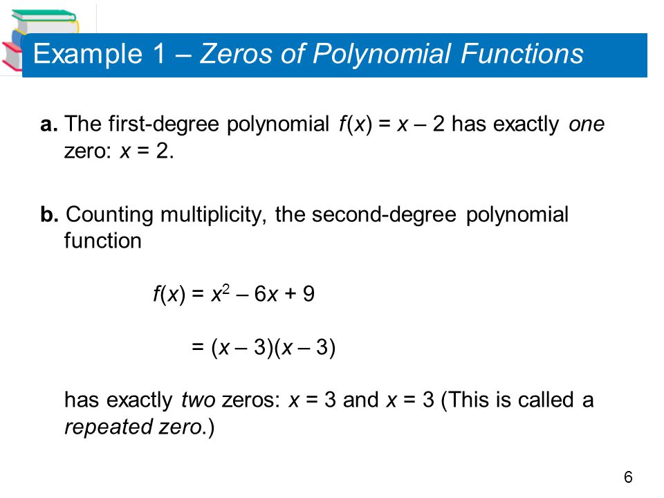Example 1 – Zeros of Polynomial Functions