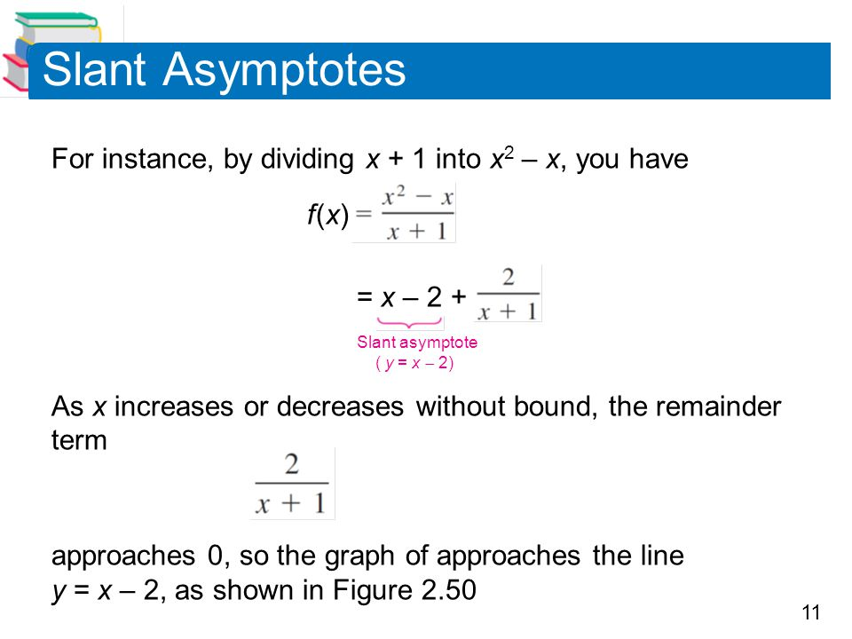 Slant Asymptotes For instance, by dividing x + 1 into x2 – x, you have