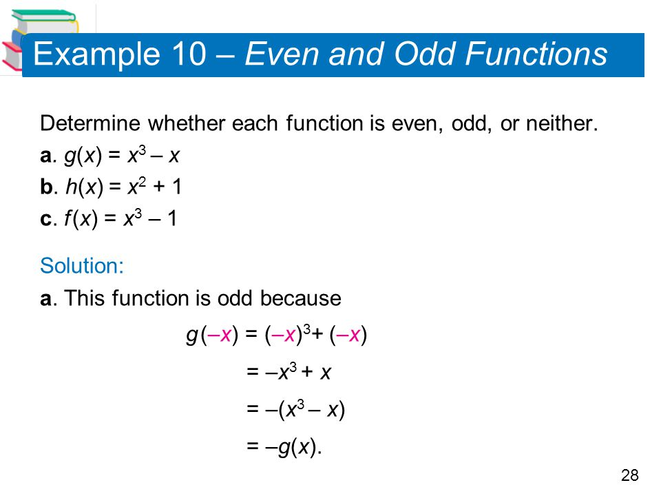 Example 10 – Even and Odd Functions