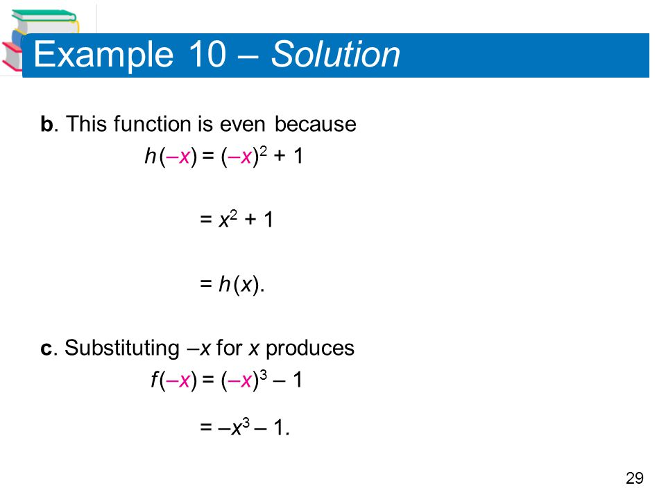 Example 10 – Solution b. This function is even because