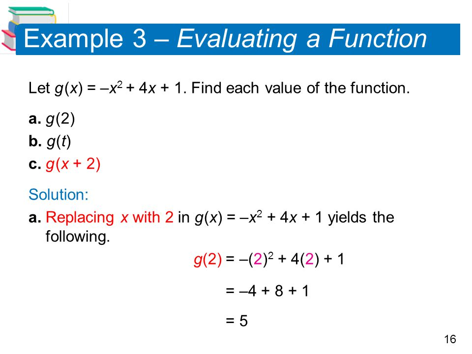 Example 3 – Evaluating a Function