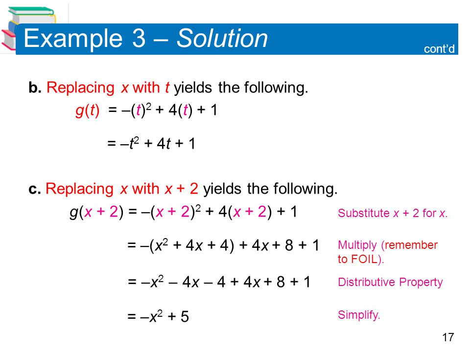 Example 3 – Solution b. Replacing x with t yields the following.