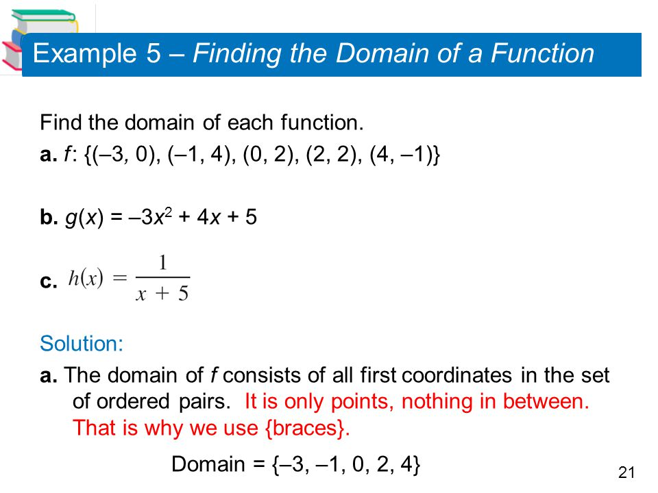 Example 5 – Finding the Domain of a Function