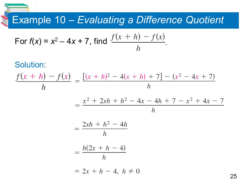 Example 10 – Evaluating a Difference Quotient