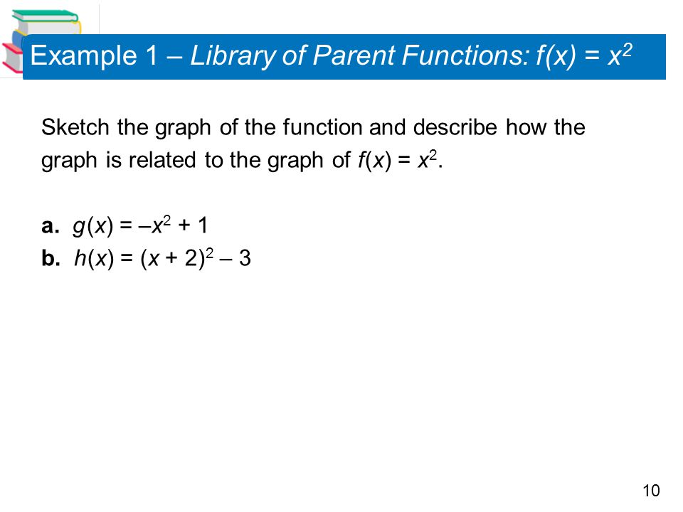 Example 1 – Library of Parent Functions: f (x) = x2