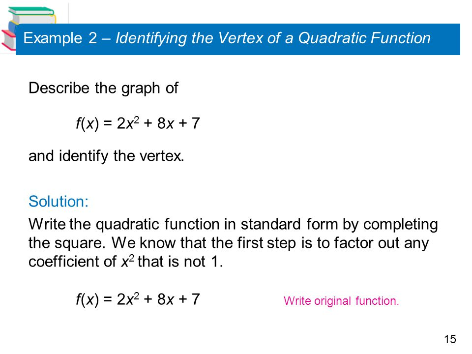 Example 2 – Identifying the Vertex of a Quadratic Function