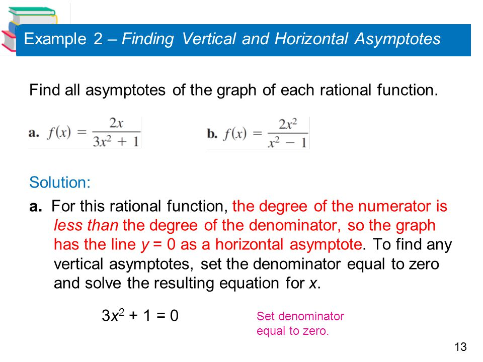Example 2 – Finding Vertical and Horizontal Asymptotes