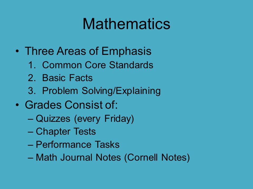 Mathematics Three Areas of Emphasis Grades Consist of: