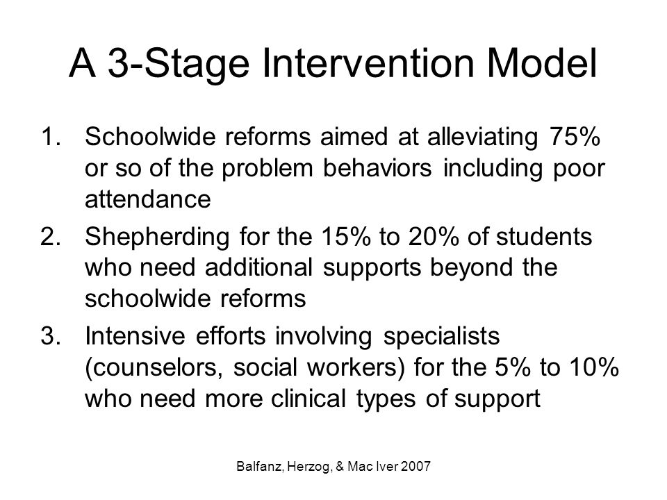 A 3-Stage Intervention Model