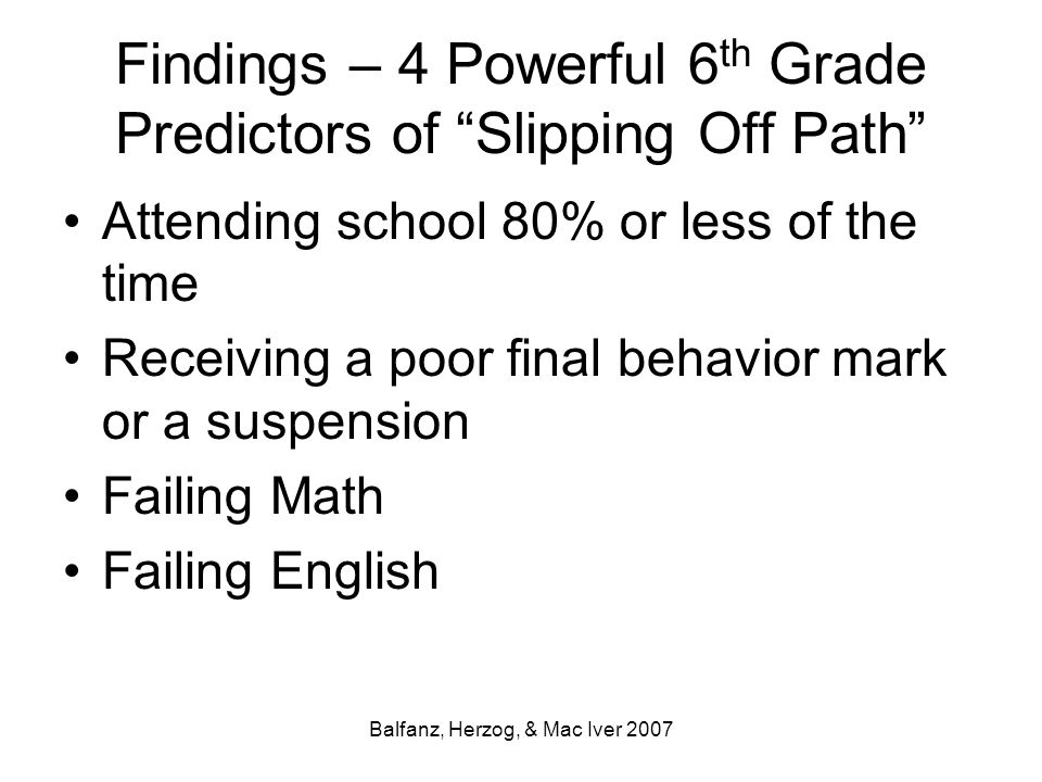 Findings – 4 Powerful 6th Grade Predictors of Slipping Off Path