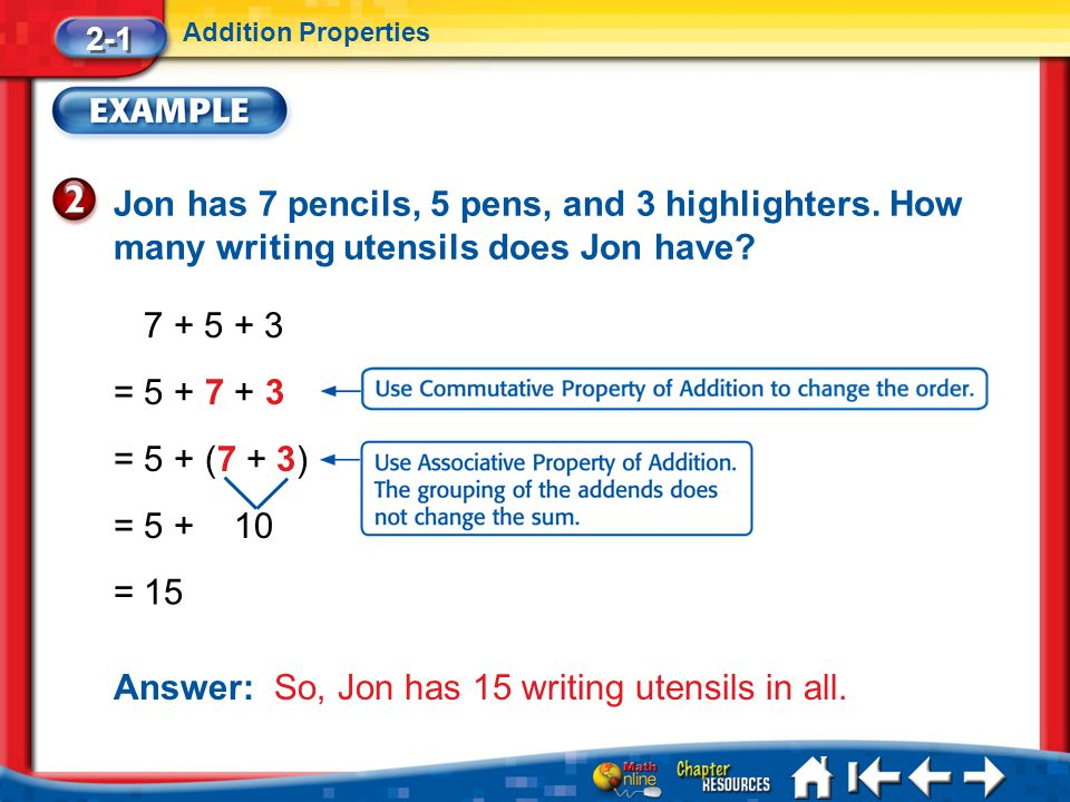 Answer: So, Jon has 15 writing utensils in all.