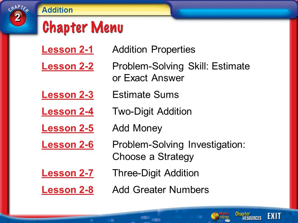 Lesson 2-1 Addition Properties