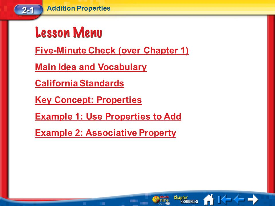 Five-Minute Check (over Chapter 1) Main Idea and Vocabulary