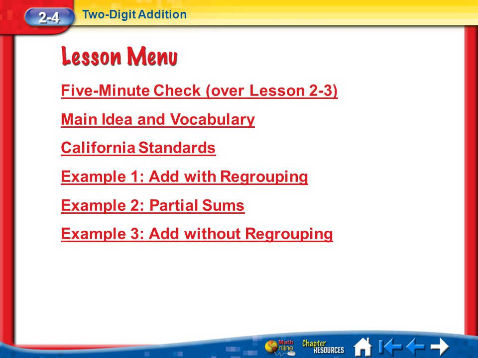 Five-Minute Check (over Lesson 2-3) Main Idea and Vocabulary