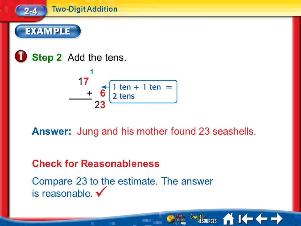 Answer: Jung and his mother found 23 seashells.