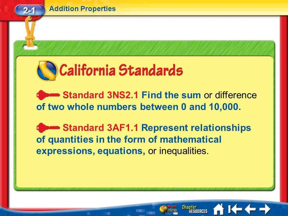 2-1 Addition Properties. Standard 3NS2.1 Find the sum or difference of two whole numbers between 0 and 10,000.