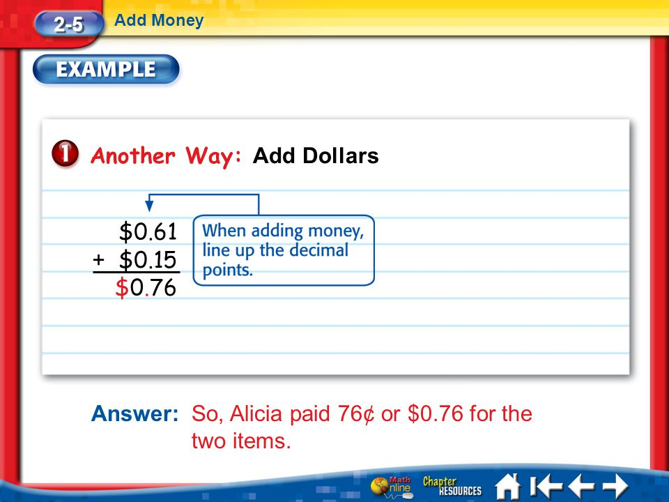 Another Way: Add Dollars