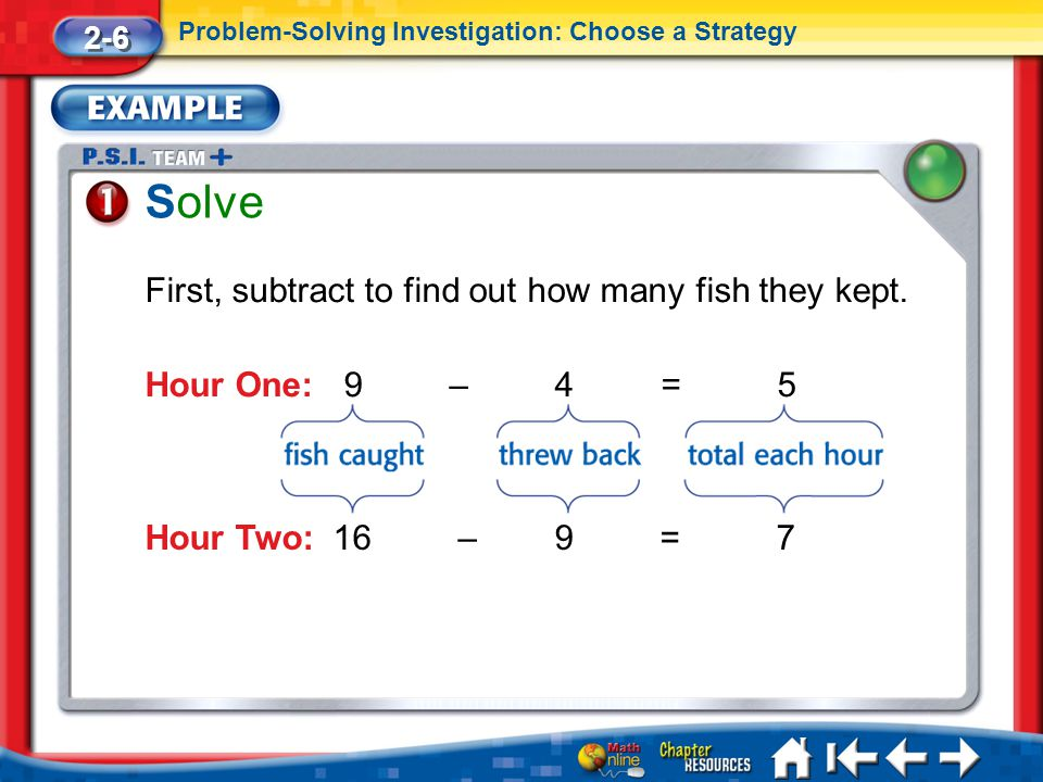 Solve First, subtract to find out how many fish they kept.