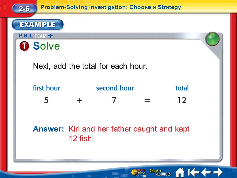 Solve Next, add the total for each hour.