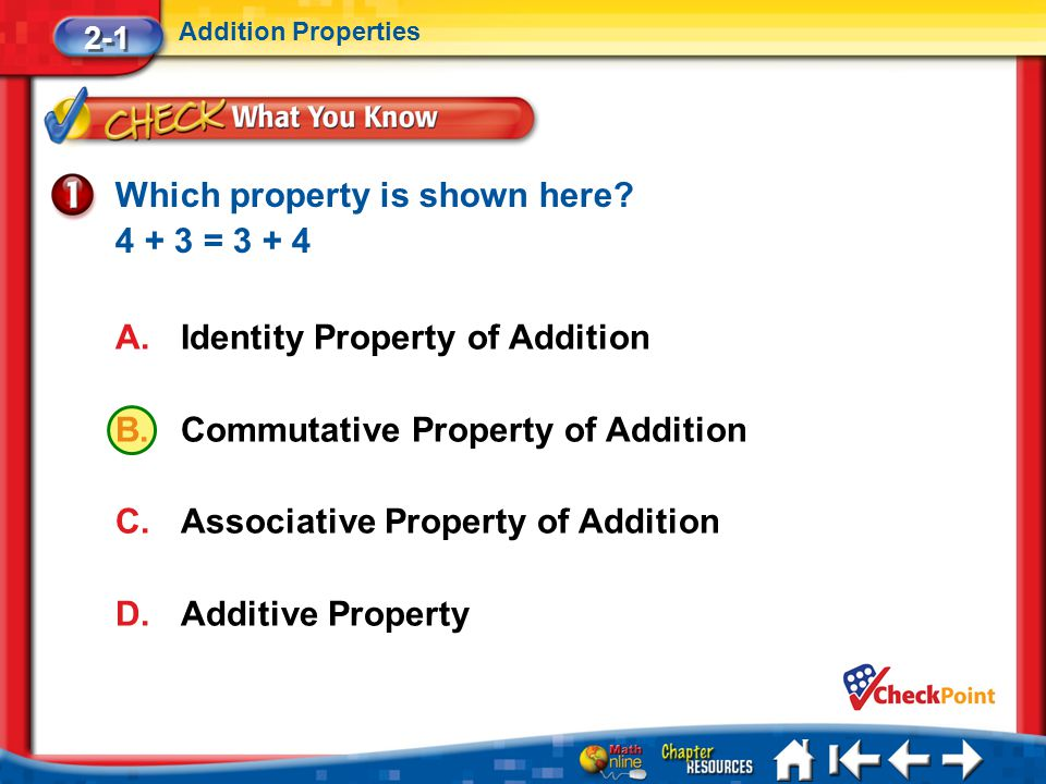 Which property is shown here 4 + 3 = 3 + 4