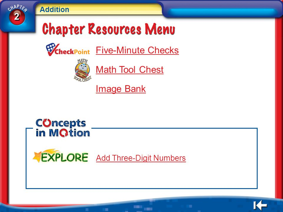 2 Five-Minute Checks Math Tool Chest Image Bank