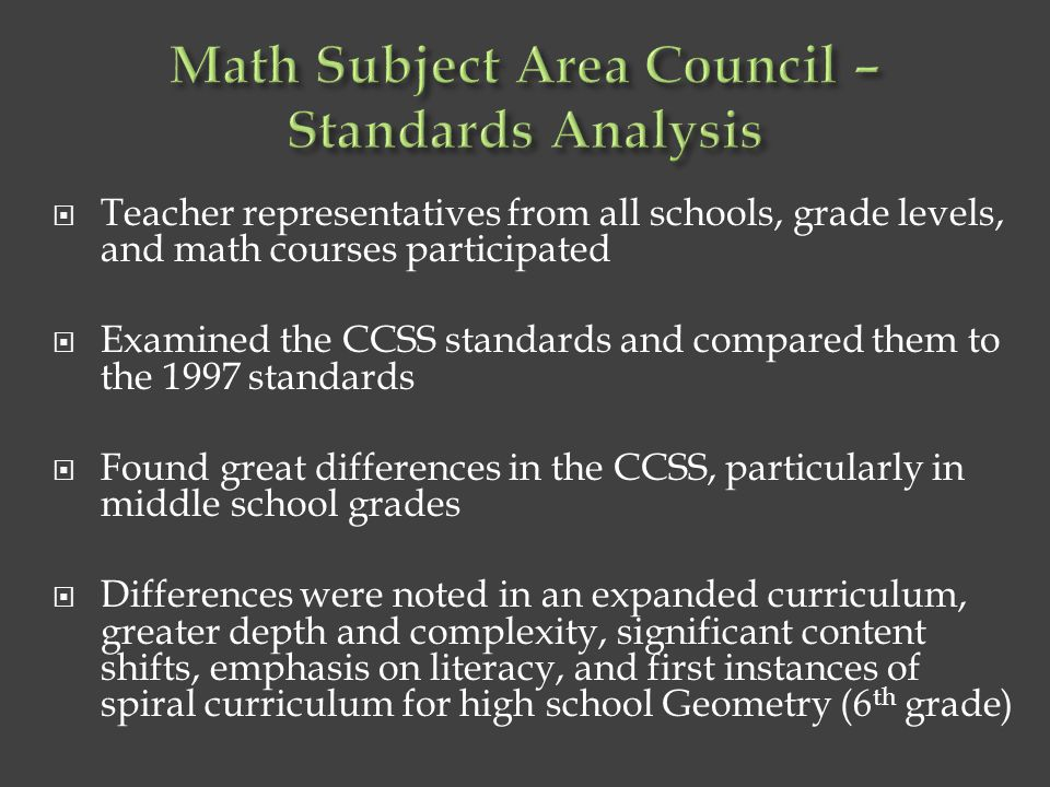 Math Subject Area Council – Standards Analysis