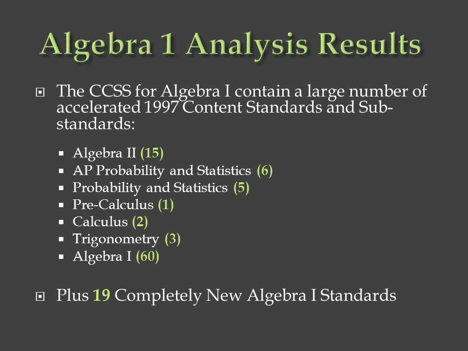 Algebra 1 Analysis Results