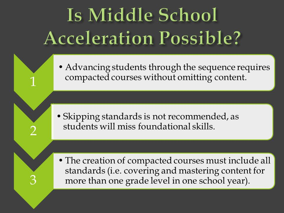 Is Middle School Acceleration Possible