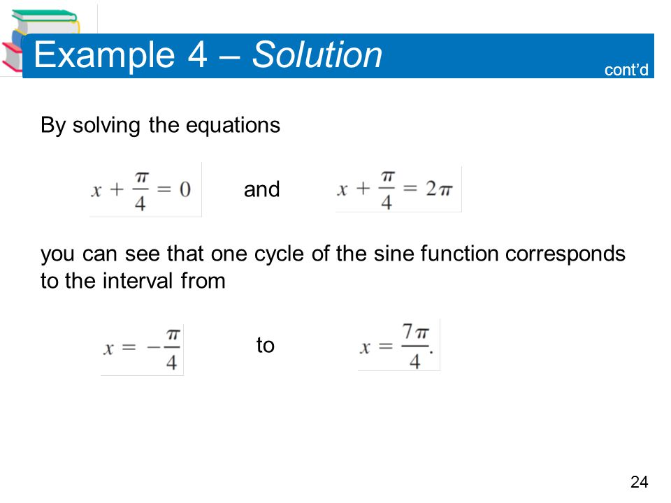 Example 4 – Solution By solving the equations and