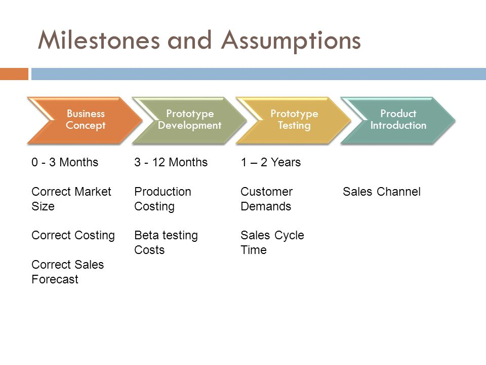Milestones and Assumptions
