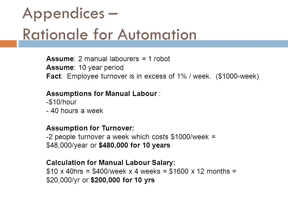 Appendices – Rationale for Automation