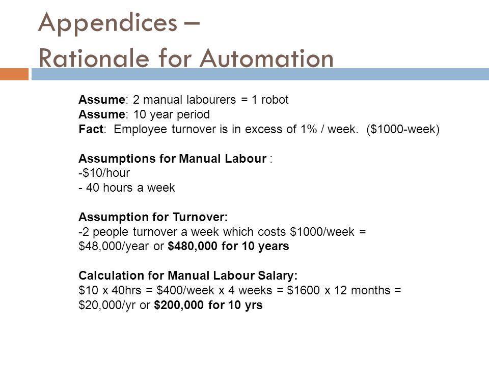 Appendices – Rationale for Automation