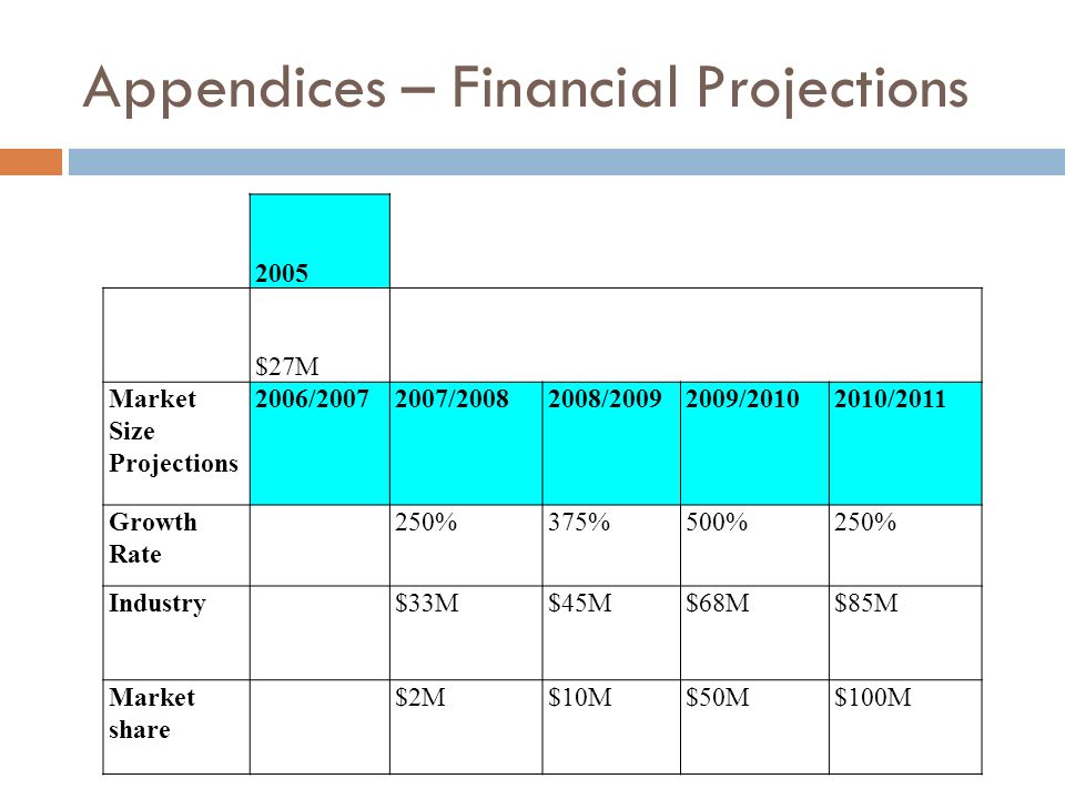 Appendices – Financial Projections