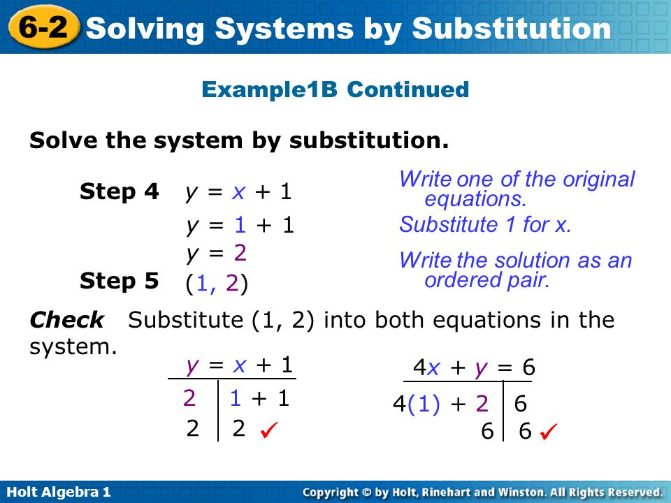  Example1B Continued Solve the system by substitution.