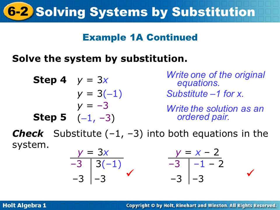   Example 1A Continued Solve the system by substitution.